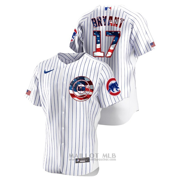 Maillot Baseball Homme Chicago Cubs Kris Bryant 2020 Stars & Stripes 4th of July Blanc