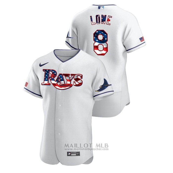 Maillot Baseball Homme Tampa Bay Rays Brandon Lowe 2020 Stars & Stripes 4th of July Blanc