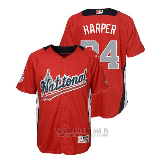 Maillot Baseball Enfant All Star Game Majestic Bryce Harper 2018 Domicile Run Derby National League Rouge