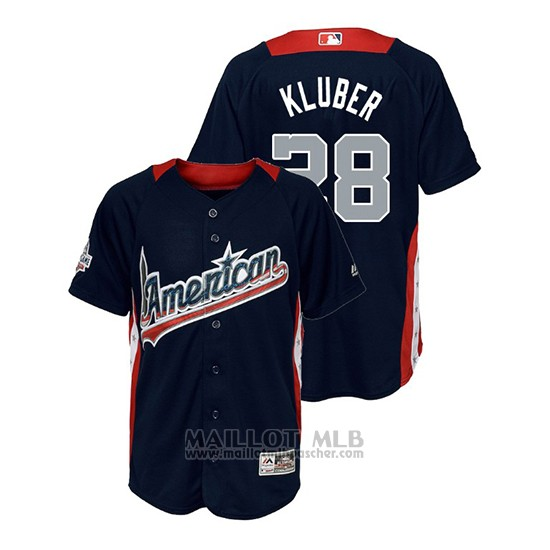 Maillot Baseball Enfant All Star Game Majestic Corey Kluber 2018 Domicile Run Derby American League Bleu