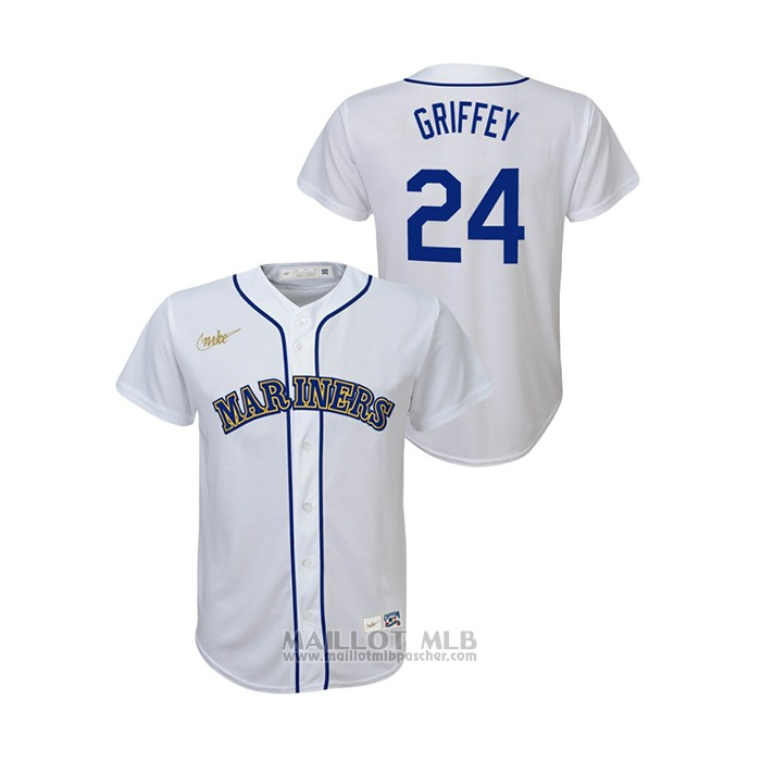 Maillot Baseball Enfant Seattle Mariners Ken Griffey Jr. Cooperstown Collection Primera Blanc