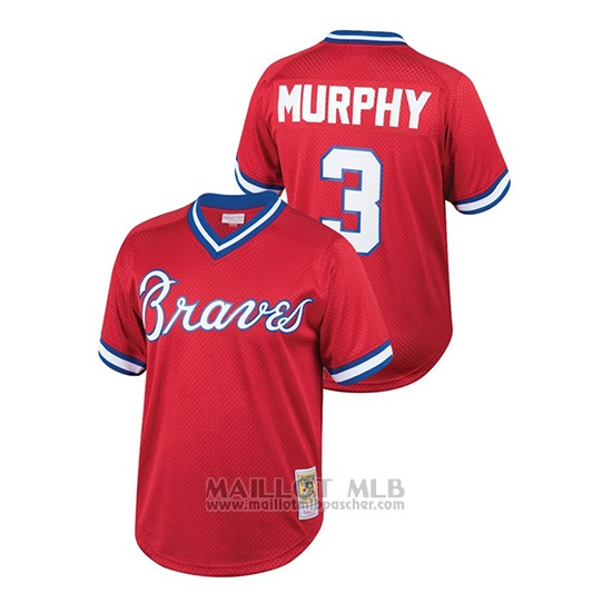Maillot Baseball Enfant Atlanta Braves Dale Murphy Cooperstown Collection Mesh Batting Practice Rouge