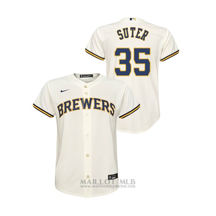 Maillot Baseball Enfant Milwaukee Brewers Brent Suter Replique Primera Creme