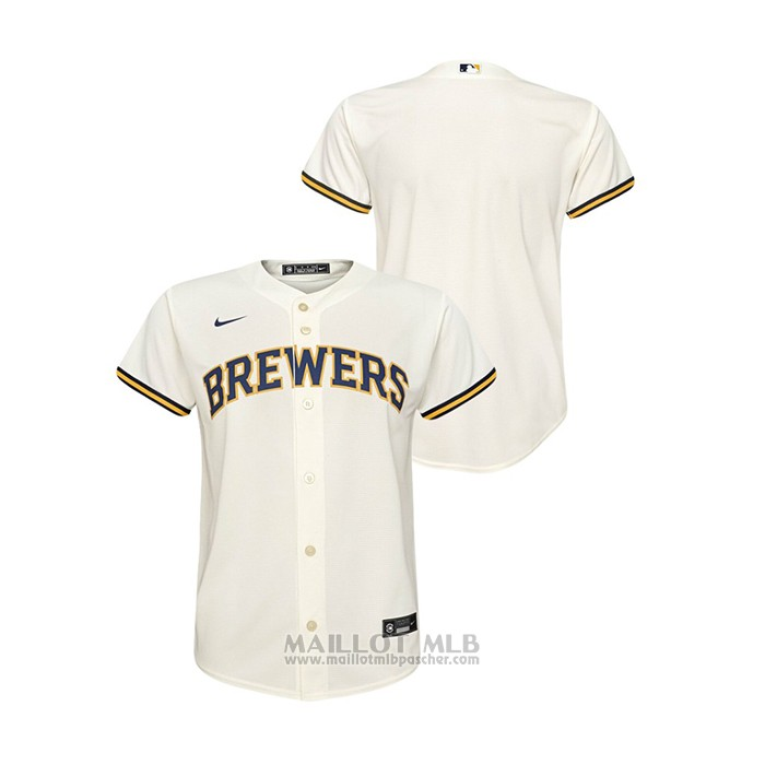 Maillot Baseball Enfant Milwaukee Brewers Replique Primera Creme