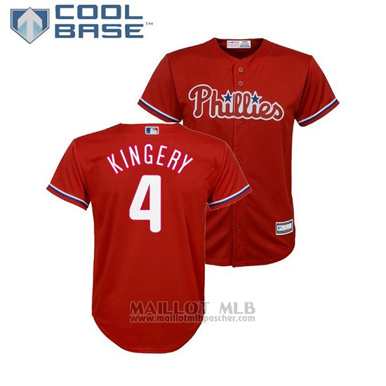 Maillot Baseball Enfant Philadelphia Phillies Scott Kingery Cool Base Majestic Alterner Replique Rouge