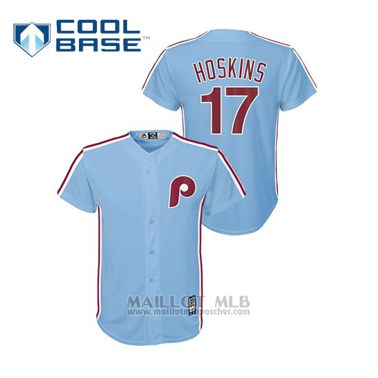 Maillot Baseball Enfant Philadelphia Phillies 17 Rhys Hoskins Cool Base Alterno Bleu