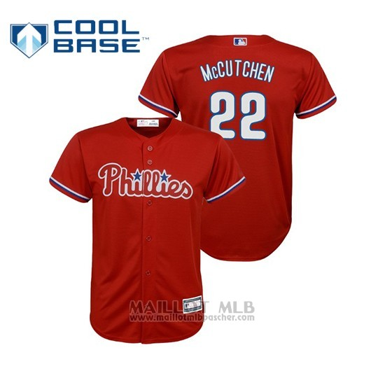 Maillot Baseball Enfant Philadelphia Phillies Andrew Mccutchen Cool Base Replica Alterno Rouge