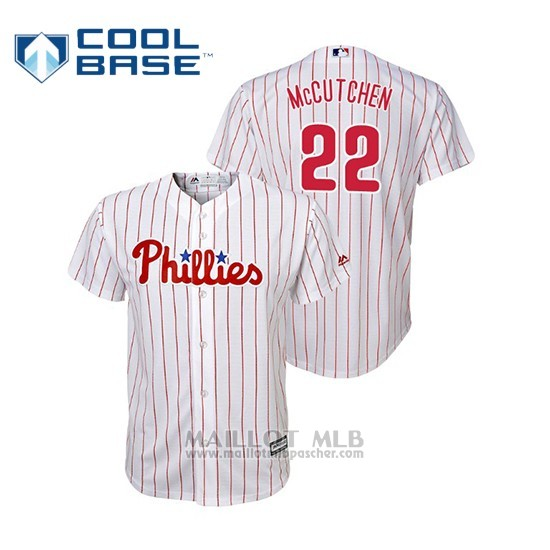 Maillot Baseball Enfant Philadelphia Phillies Andrew Mccutchen Cool Base Replica Domicile Blanc