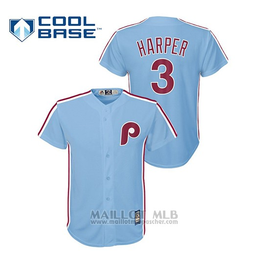 Maillot Baseball Enfant Philadelphia Phillies Bryce Harper Cool Base Majestic Bleu Luminoso