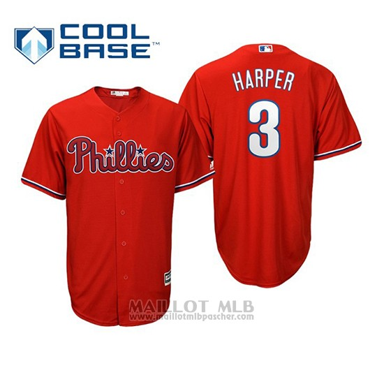 Maillot Baseball Enfant Philadelphia Phillies Bryce Harper Cool Base Majestic Replica Rouge