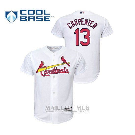 Maillot Baseball Enfant St. Louis Cardinals 13 Matt Carpenter Cool Base Majestic Domicile Replica Blanc