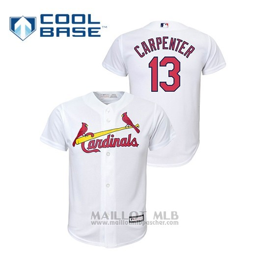 Maillot Baseball Enfant St. Louis Cardinals 13 Matt Carpenter Cool Base Domicile Replica Blanc