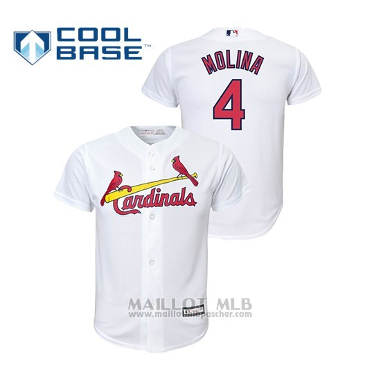 Maillot Baseball Enfant St. Louis Cardinals 4 Yadier Molina Cool Base Majestic Domicile Replica Blanc