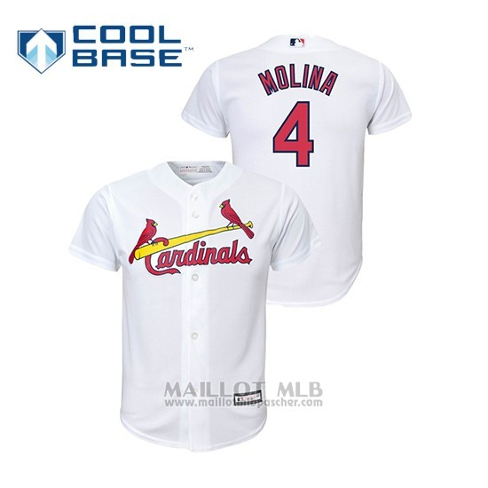 Maillot Baseball Enfant St. Louis Cardinals 4 Yadier Molina Cool Base Domicile Replica Blanc