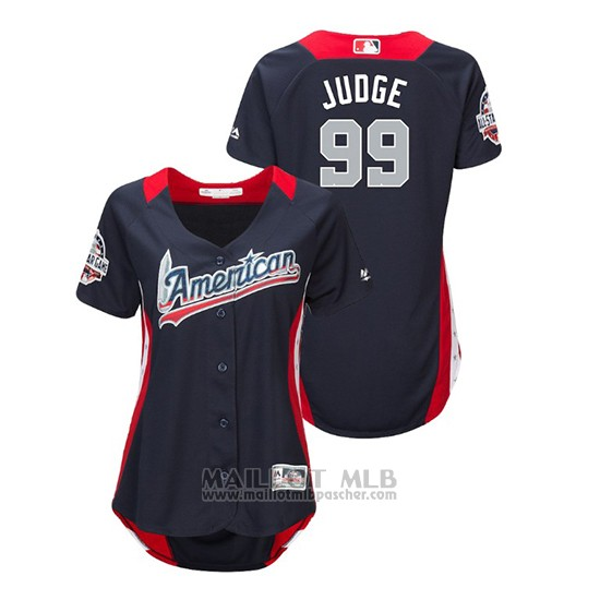 Maillot Baseball Femme All Star Game Majestic Aaron Judge 2018 Domicile Run Derby American League Bleu