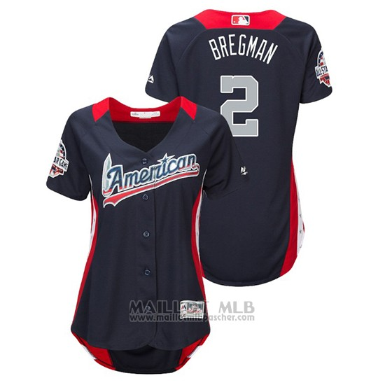Maillot Baseball Femme All Star Game Majestic Alex Bregman 2018 Domicile Run Derby American League Bleu