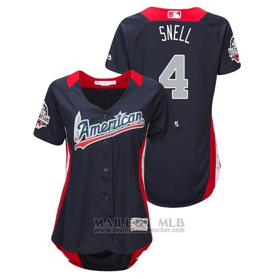Maillot Baseball Femme All Star Game Majestic Blake Snell 2018 Domicile Run Derby American League Bleu