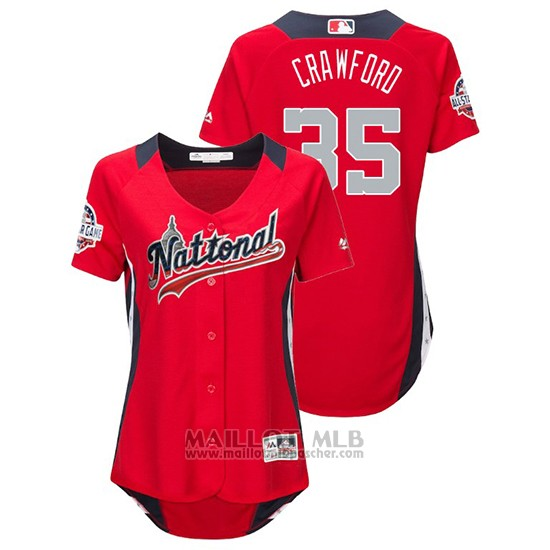 Maillot Baseball Femme All Star Game Majestic Brandon Crawford 2018 Domicile Run Derby National League Rouge