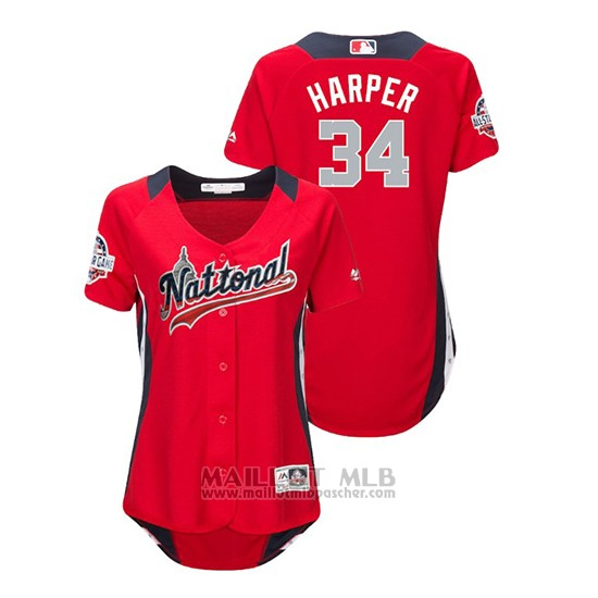 Maillot Baseball Femme All Star Game Majestic Bryce Harper 2018 Domicile Run Derby National League Rouge