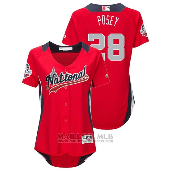 Maillot Baseball Femme All Star Game Majestic Buster Posey 2018 Domicile Run Derby National League Rouge