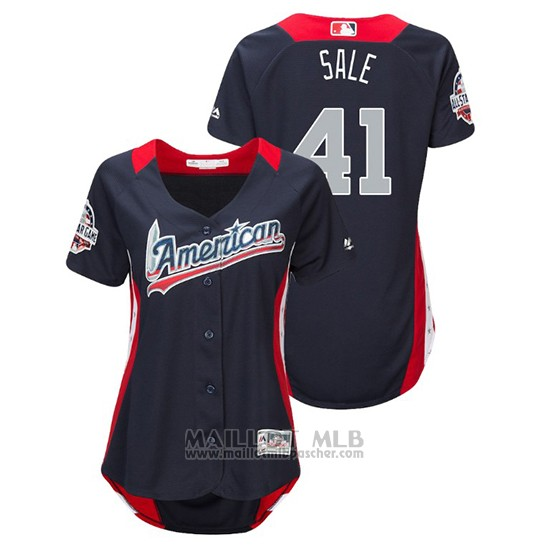 Maillot Baseball Femme All Star Game Majestic Chris Sale 2018 Domicile Run Derby American League Bleu