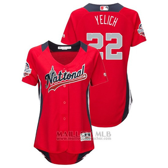 Maillot Baseball Femme All Star Game Majestic Christian Yelich 2018 Domicile Run Derby National League Rouge