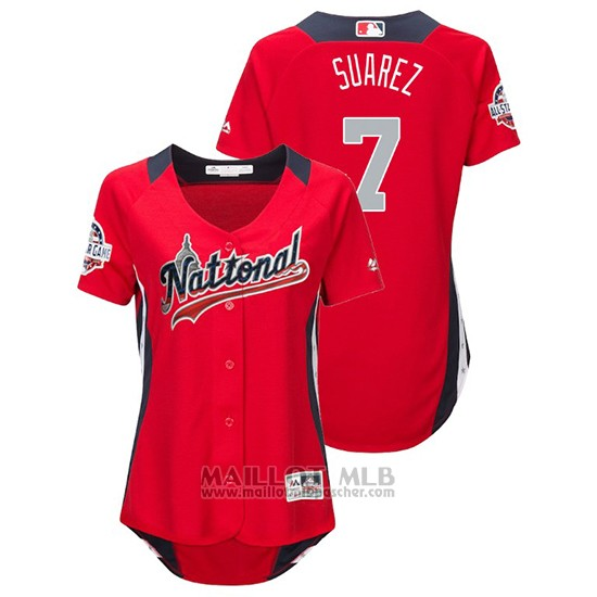 Maillot Baseball Femme All Star Game Majestic Eugenio Suarez 2018 Domicile Run Derby National League Rouge