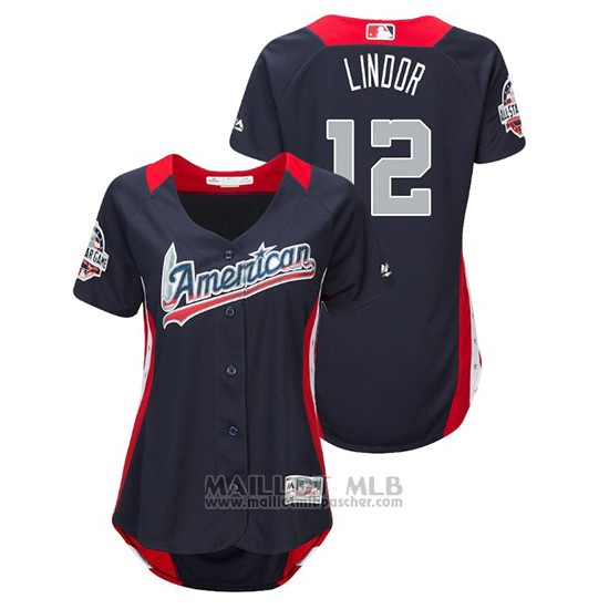 Maillot Baseball Femme All Star Game Majestic Francisco Lindor 2018 Domicile Run Derby American League Bleu