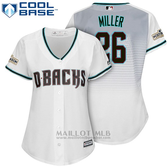 Maillot Baseball Femme Arizona Diamondbacks 2017 Postseason 26 Shelby Miller Blanc Cool Base