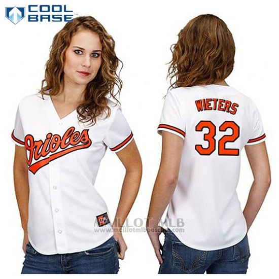Maillot Baseball Femme Baltimore Orioles 32 Matt Wieters Blanc Cool Base