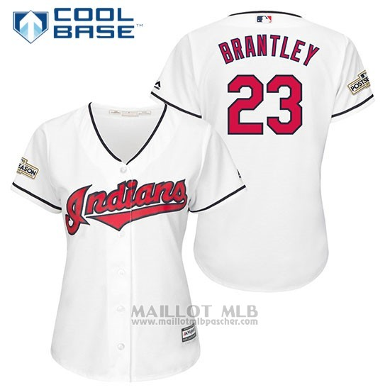 Maillot Baseball Femme Cleveland Indians 2017 Postseason 23 Michael Brantley Blanc Cool Base