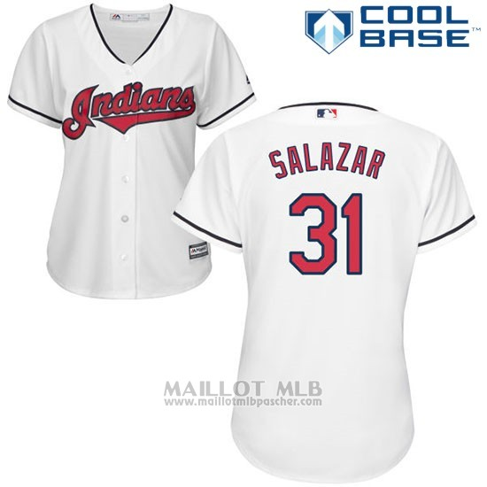 Maillot Baseball Femme Cleveland Indians 31 Danny Salazar Blanc Authentique Coleccion Cool Base