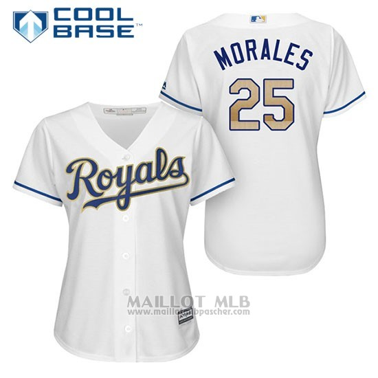 Maillot Baseball Femme Kansas City Royals 25 Kendrys Morales Blanc 2017 Cool Base