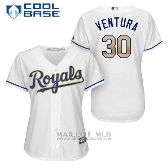 Maillot Baseball Femme Kansas City Royals 30 Yordano Ventura Blanc 2017 Cool Base