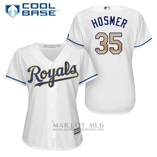 Maillot Baseball Femme Kansas City Royals 35 Eric Hosmer Blanc 2017 Cool Base