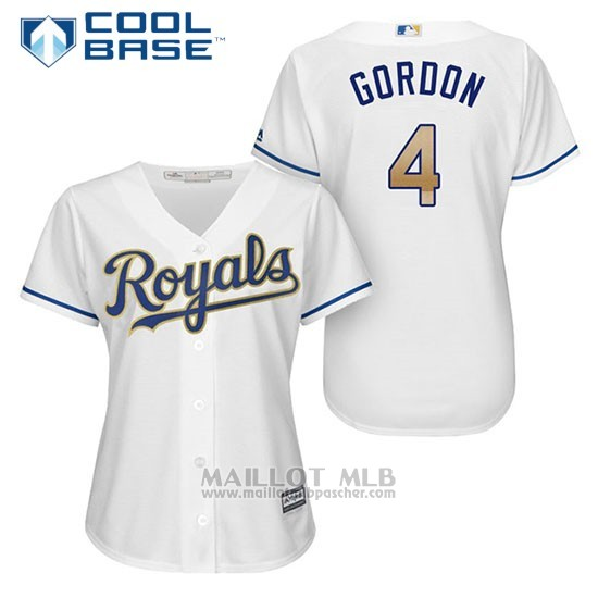 Maillot Baseball Femme Kansas City Royals 4 Alex Gordon Blanc 2017 Cool Base