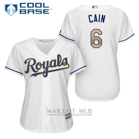 Maillot Baseball Femme Kansas City Royals 6 Lorenzo Cain Blanc 2017 Cool Base