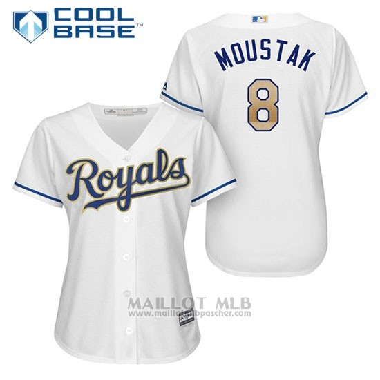 Maillot Baseball Femme Kansas City Royals 8 Mike Moustakas Blanc 2017 Cool Base