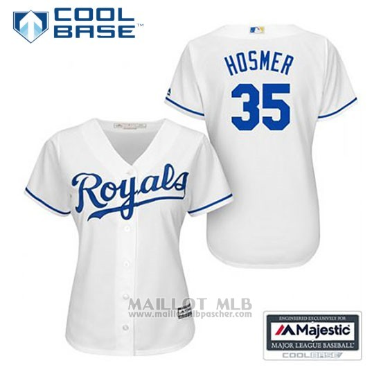 Maillot Baseball Femme Kansas City Royals Eric Hosmer 35 Blanc Domicile Cool Base