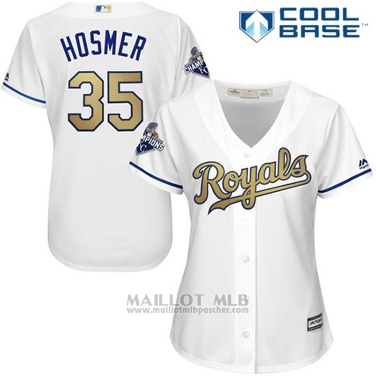 Maillot Baseball Femme Kansas City Royals Eric Hosmer 35 World Series Champions Oro Program Blanc Cool Base