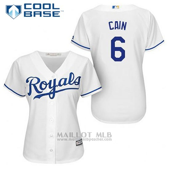 Maillot Baseball Femme Kansas City Royals Lorenzo Cain 6 Blanc Domicile Cool Base
