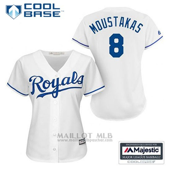 Maillot Baseball Femme Kansas City Royals Mike Moustakas 8 Blanc Domicile Cool Base