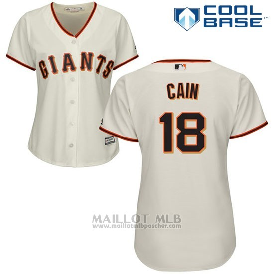 Maillot Baseball Femme San Francisco Giants San Francisco Matt Cain Cool Base Creme