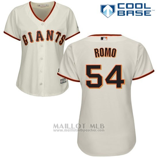 Maillot Baseball Femme San Francisco Giants San Francisco Sergio Romo Cool Base Creme