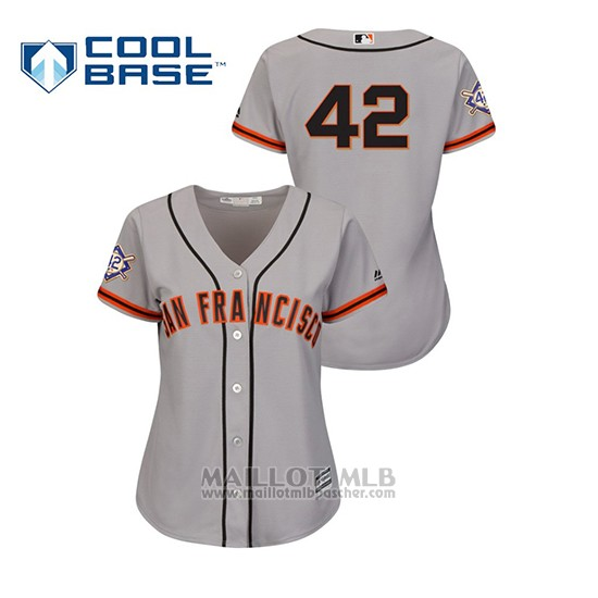 Maillot Baseball Femme San Francisco Giants 2019 Jackie Robinson Day Cool Base Gris