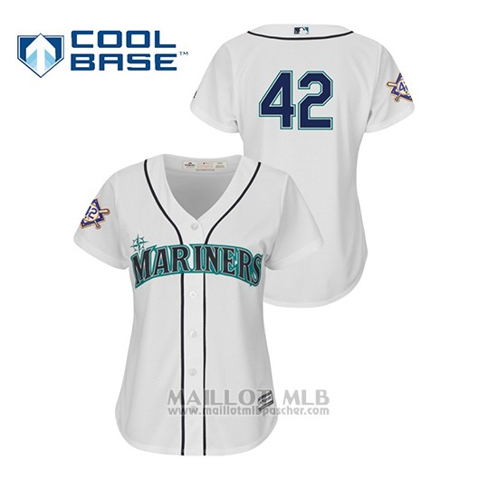 Maillot Baseball Femme Seattle Mariners 2019 Jackie Robinson Day Cool Base Blanc