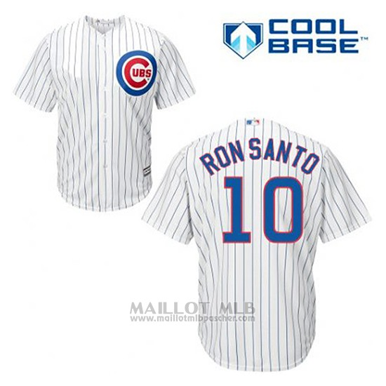 Maillot Baseball Homme Chicago Cubs 10 Ron Santo Blanc Domicile Cool Base