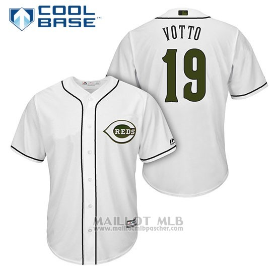 Maillot Baseball Homme Cincinnati Reds 19 Joey Votto Blanc2018 Alterner Cool Base