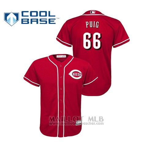 Maillot Baseball Hombre Cincinnati Reds 66 Yasiel Puig Cool Base Majestic Alterno Rouge