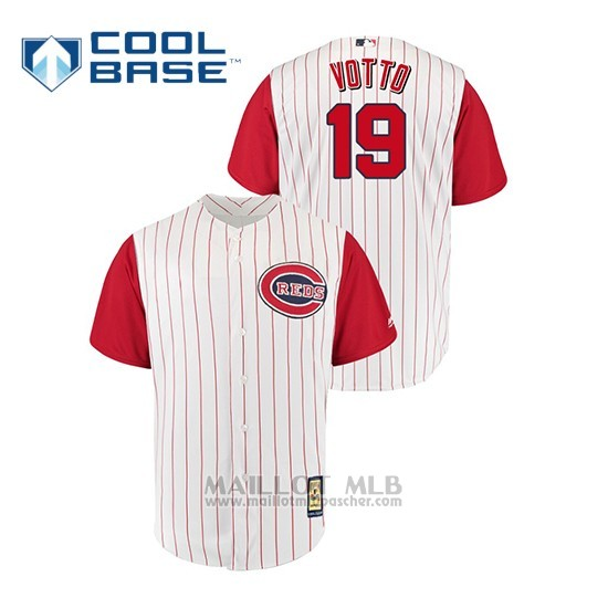 Maillot Baseball Homme Cincinnati Reds 19 Joey Votto Throwback 1961 Cool Base Blanc Rouge
